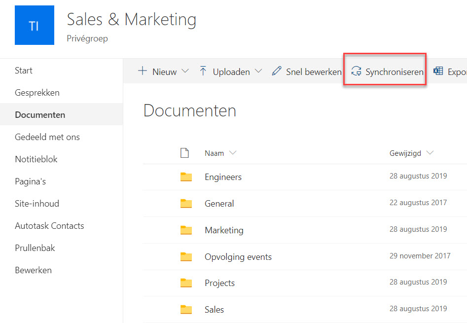 sharepoint folder synchroniseren