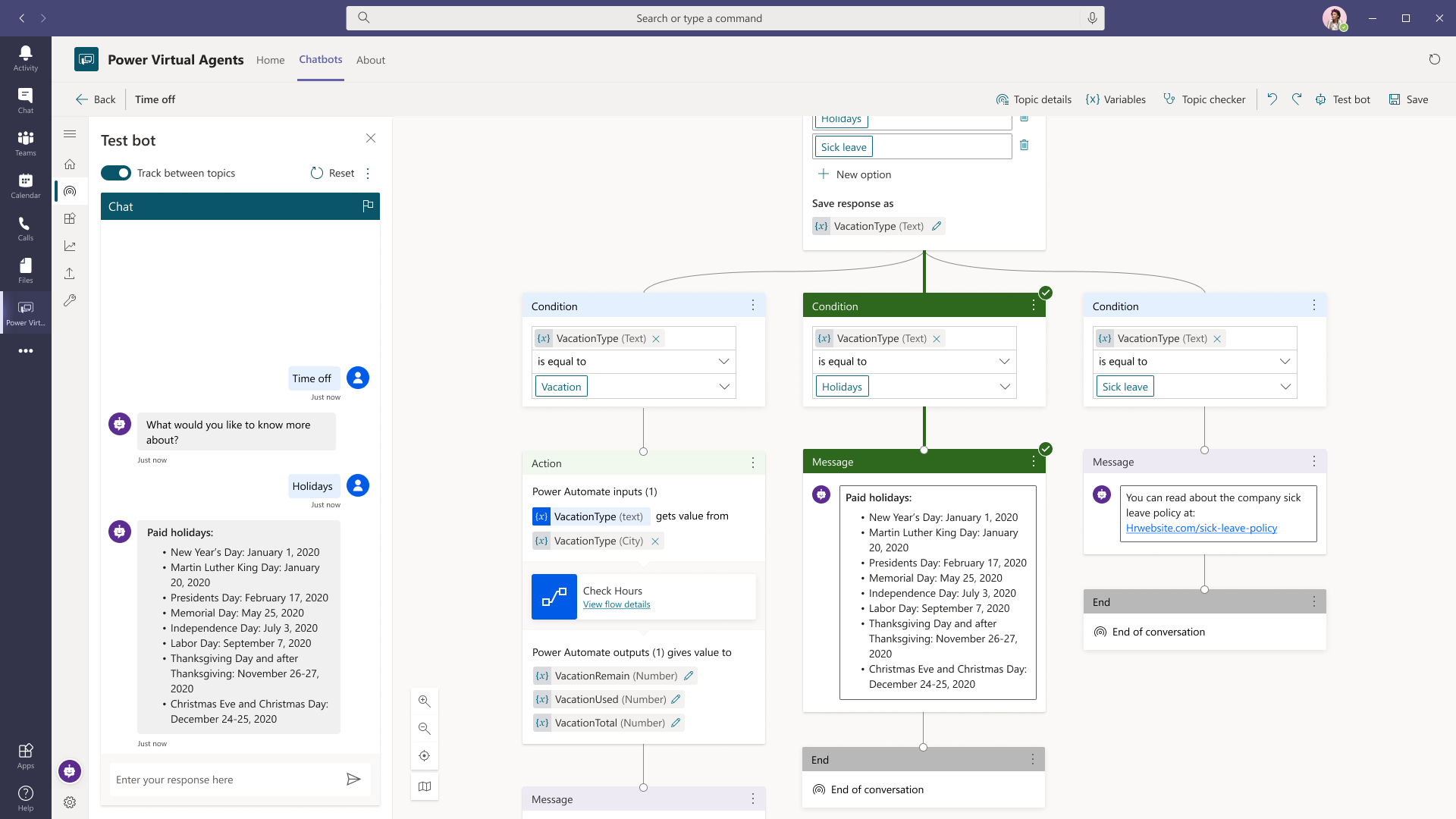 Microsoft Teams chatbot