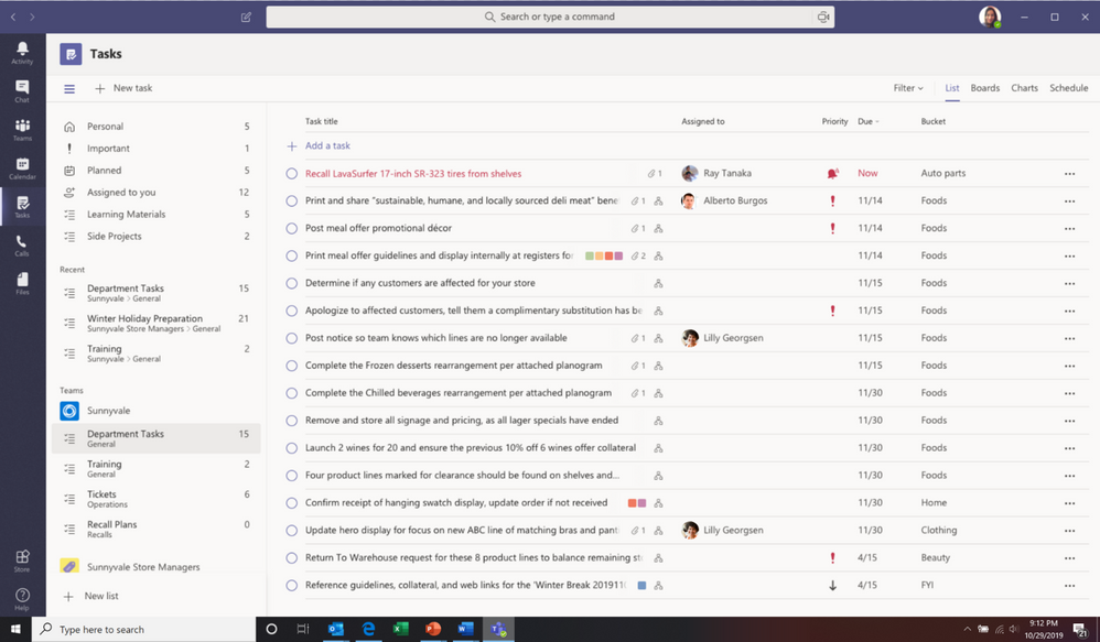 microsoft teams tasks