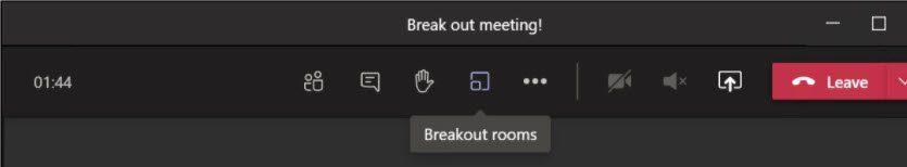 breakout room starten knop